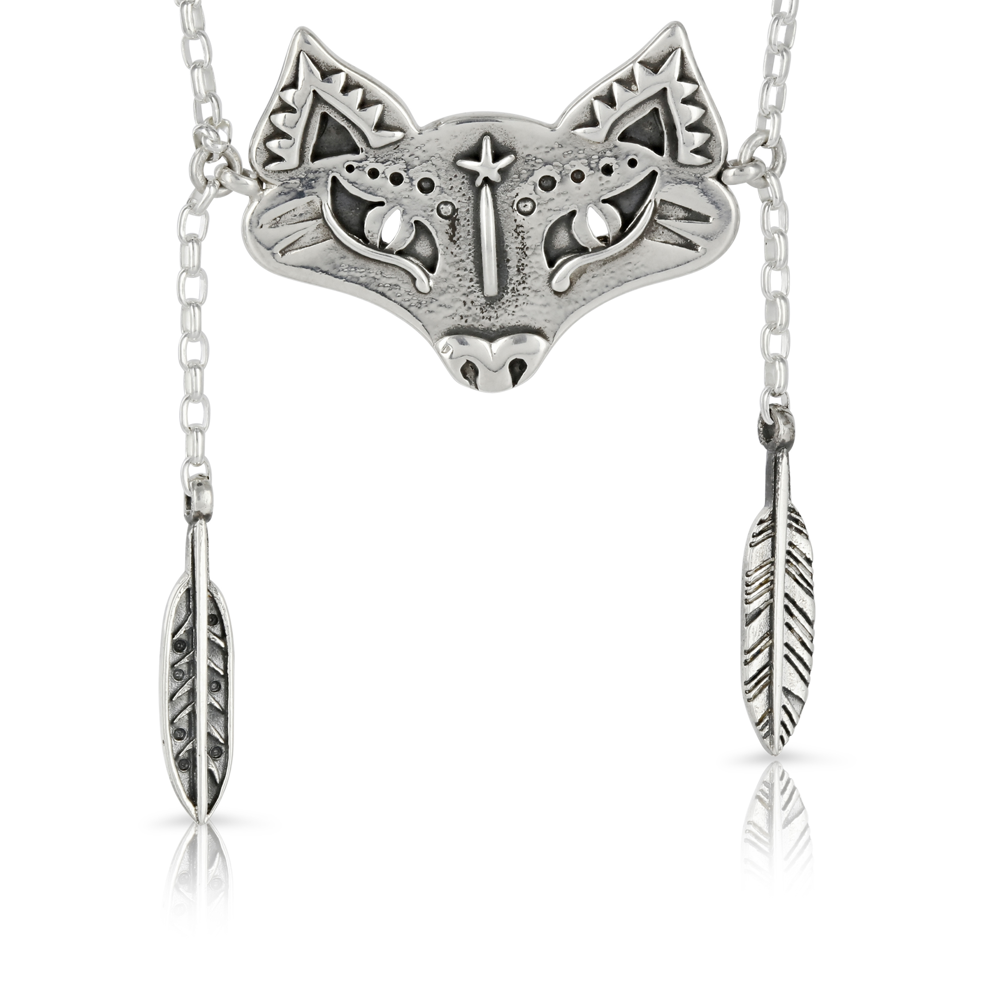 Silver Fox and Feathers Necklace by Prey Jewellery