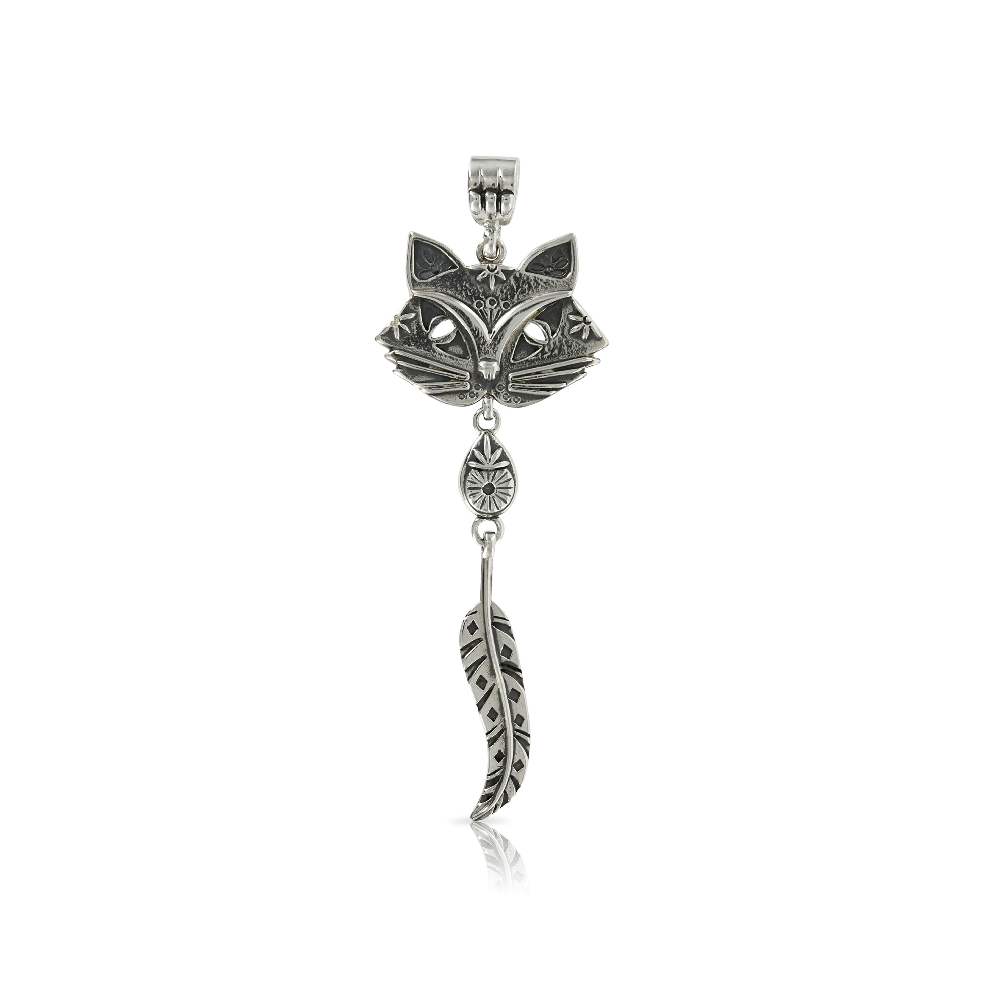 Sivler Cat and Feather Pendant by Prey Jewellery