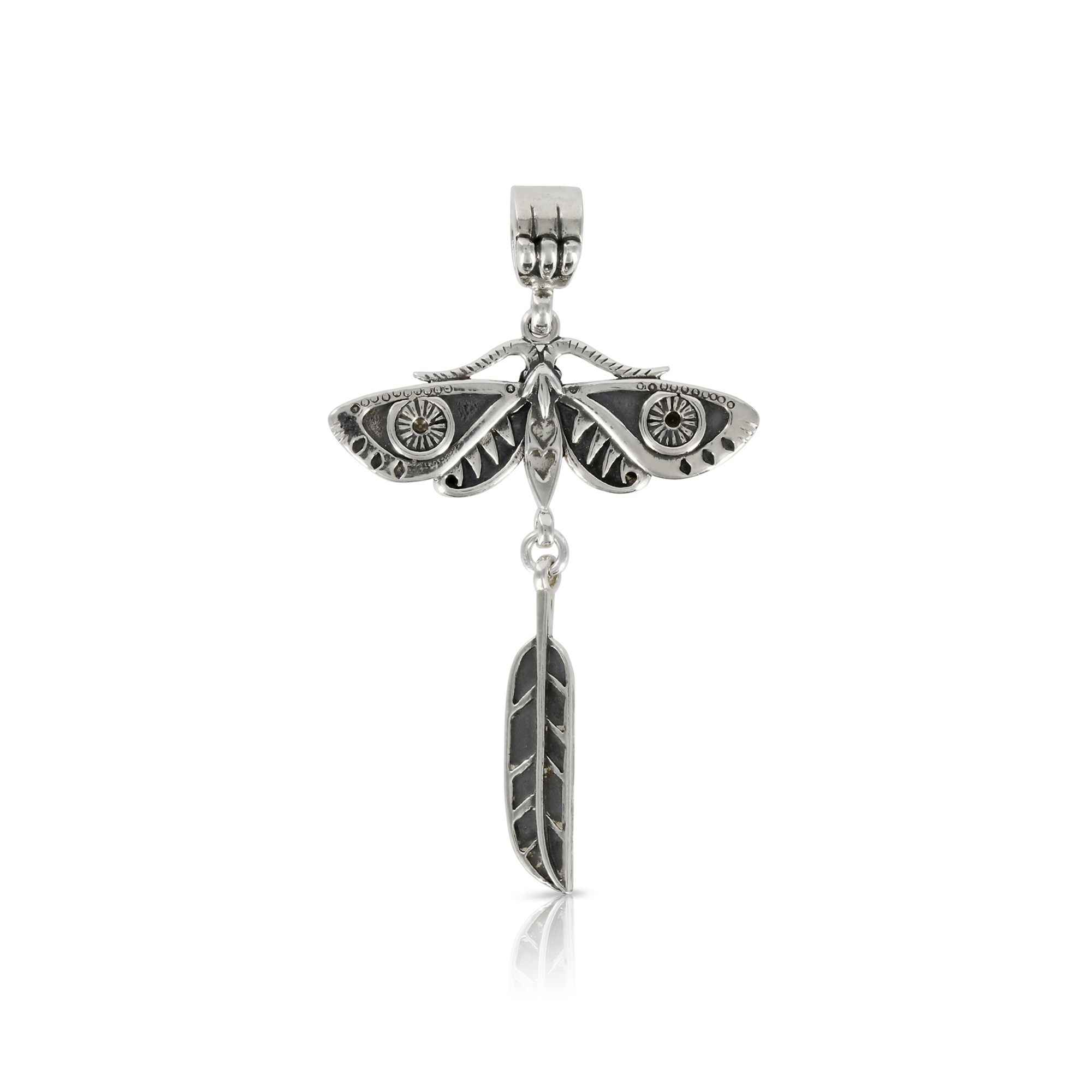 Silver Moth with Feather Pendant by Prey Jewellery