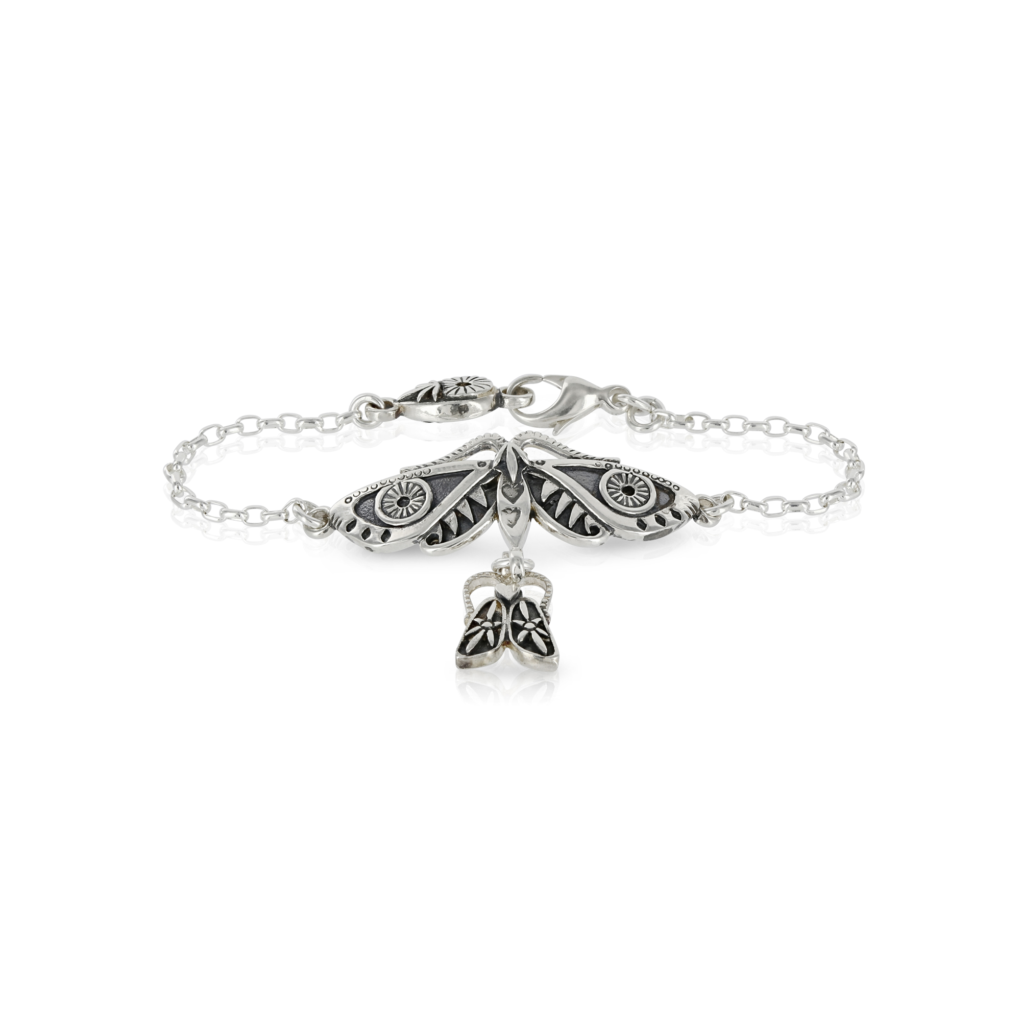 Silver Moth and Bug Bracelet by Prey Jewellery