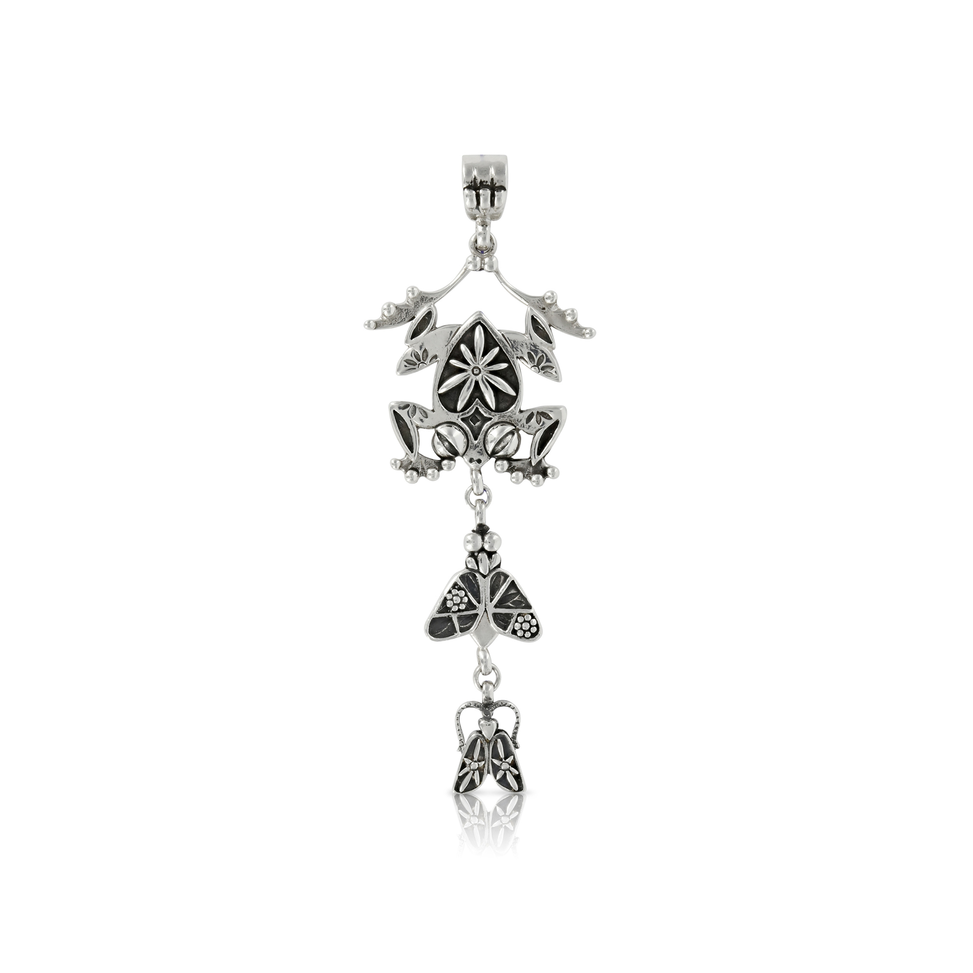 Silver Frog with Fly and Bug Pendant by Prey Jewellery