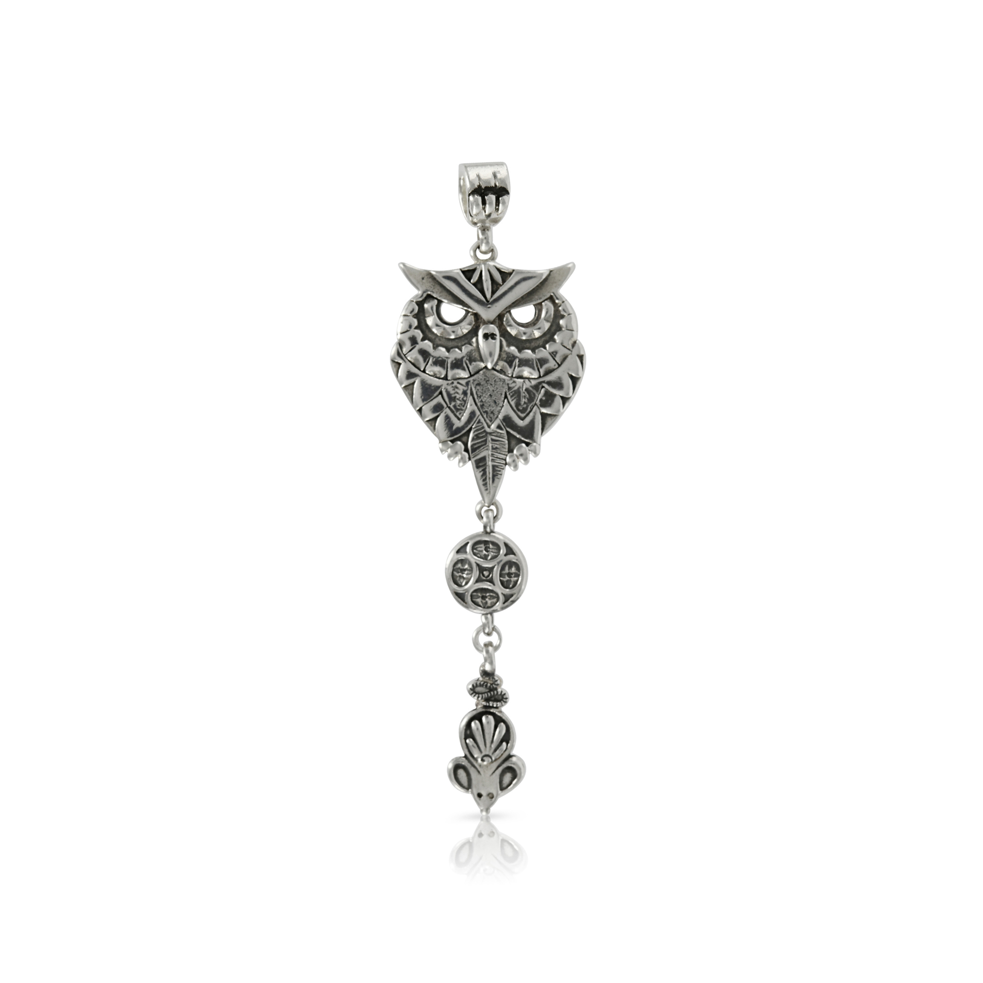 Silver Owl and Mouse Pendant by Prey Jewellery