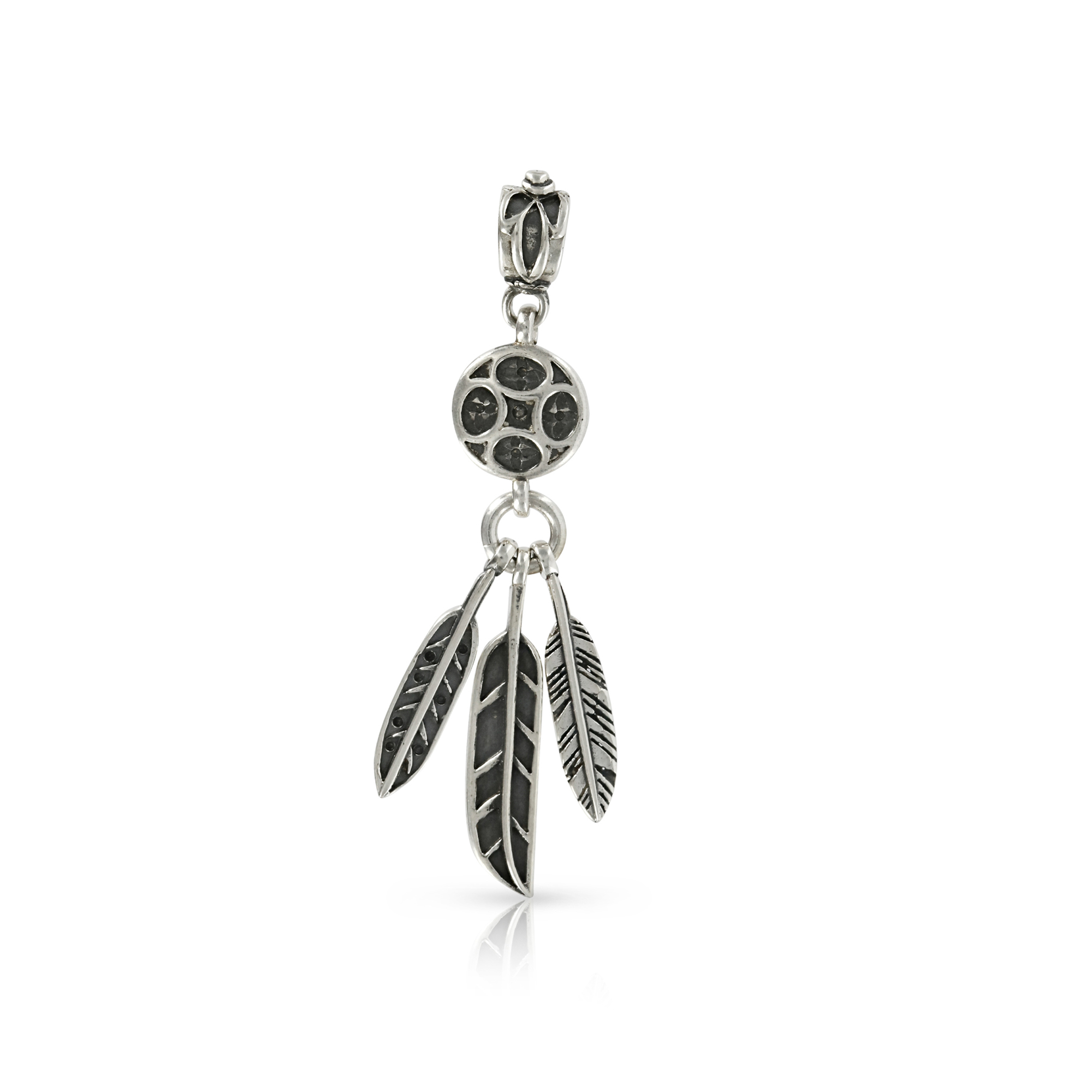 Silver Feathers Pendant by Prey Jewellery