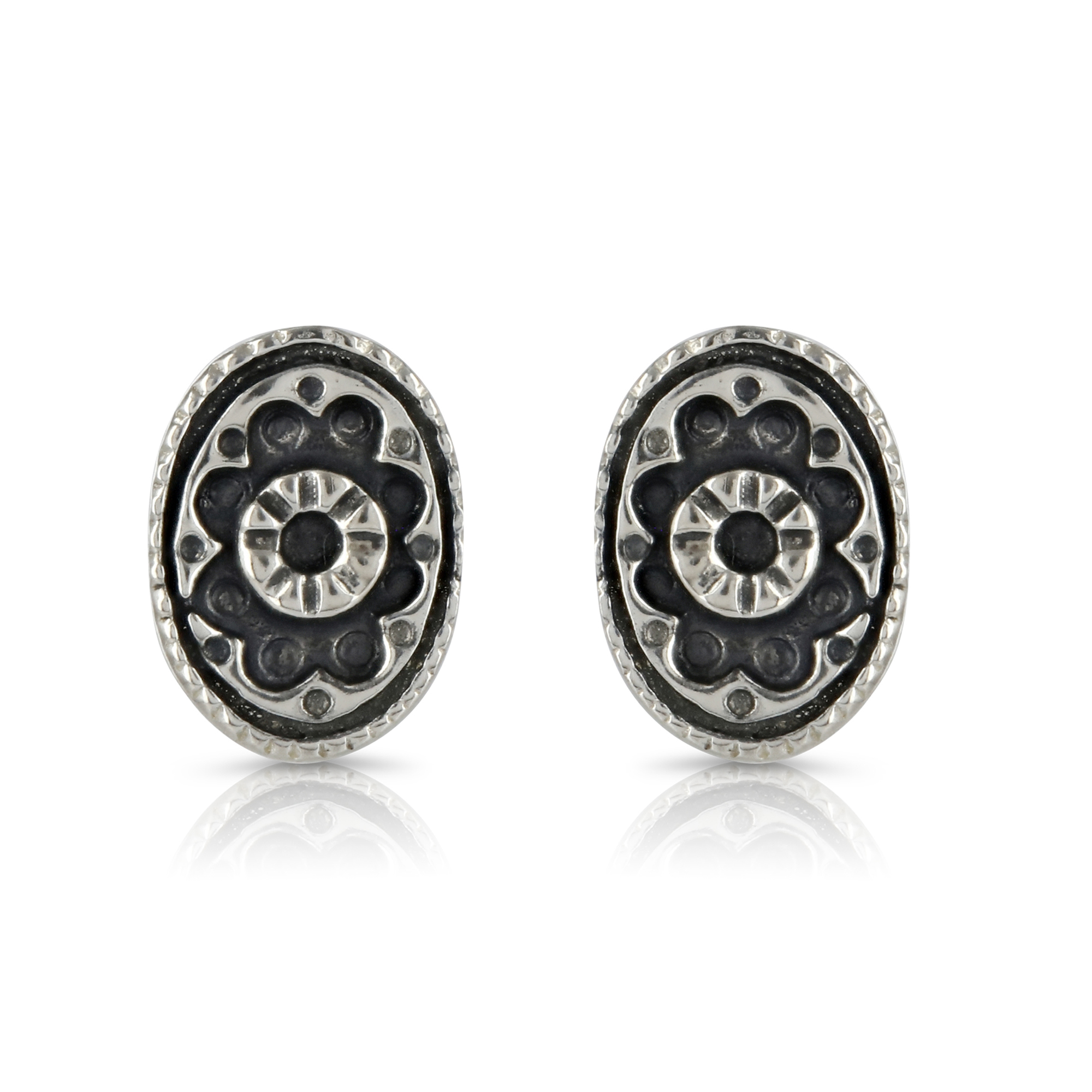 Silver Oval Stud Earrings by Prey Jewellery