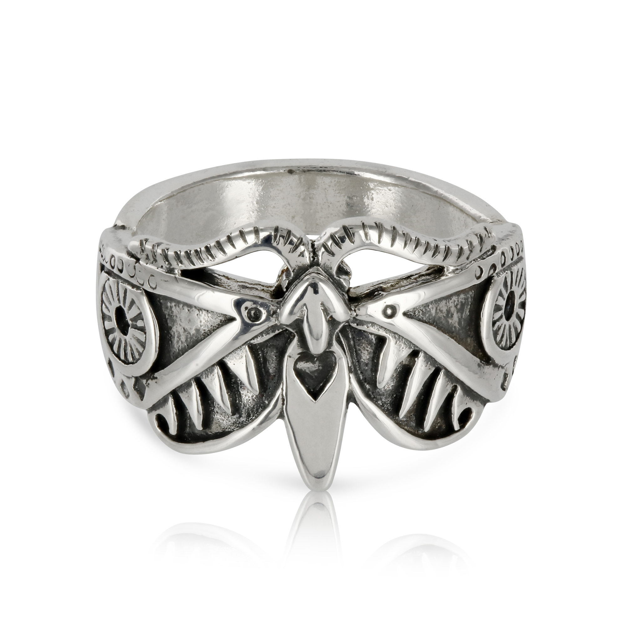 Silver Moth Ring by Prey Jewellery