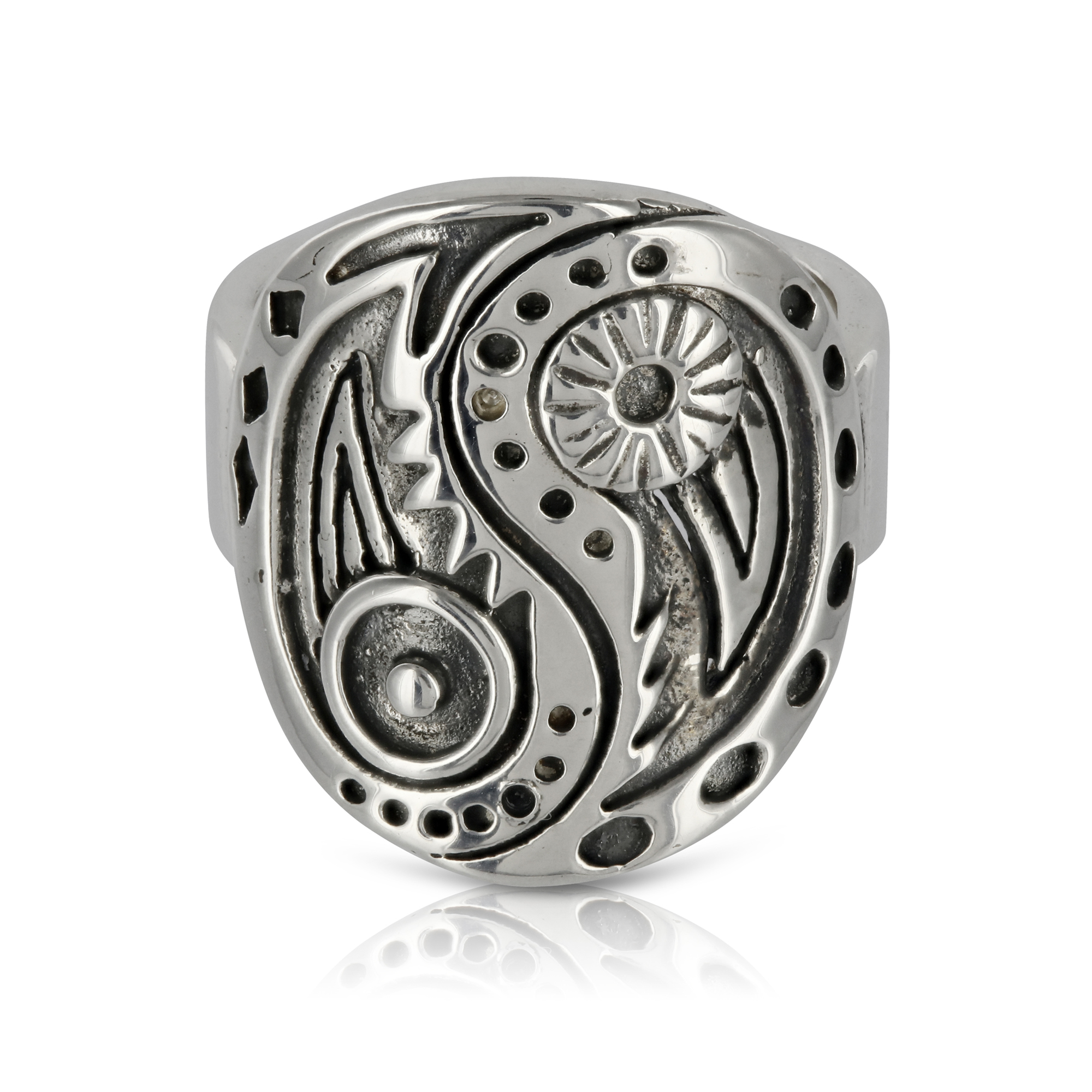 Based on the ancient Chinese symbol for balance, this beautifully balanced design includes delicate eye detail that could have the added benefit of warding off evil.
