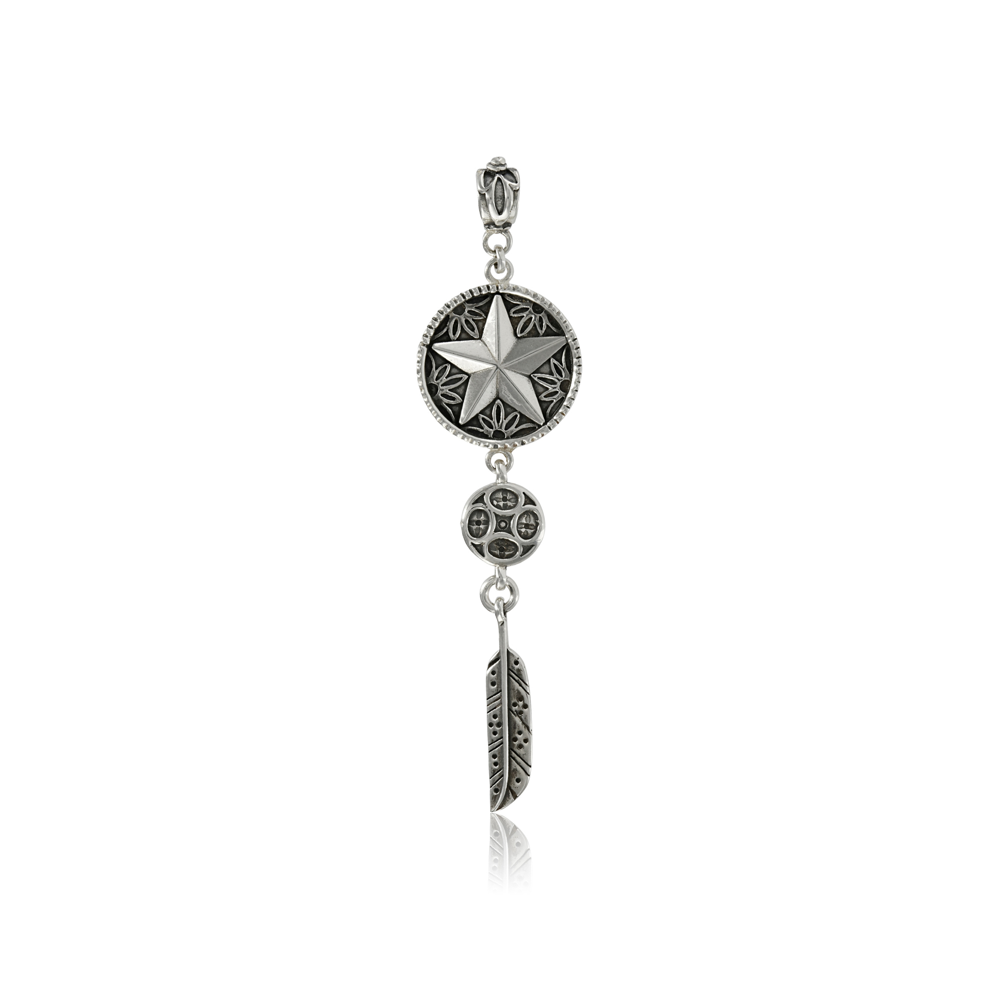Silver Star with Feather Pendant by Prey Jewellery