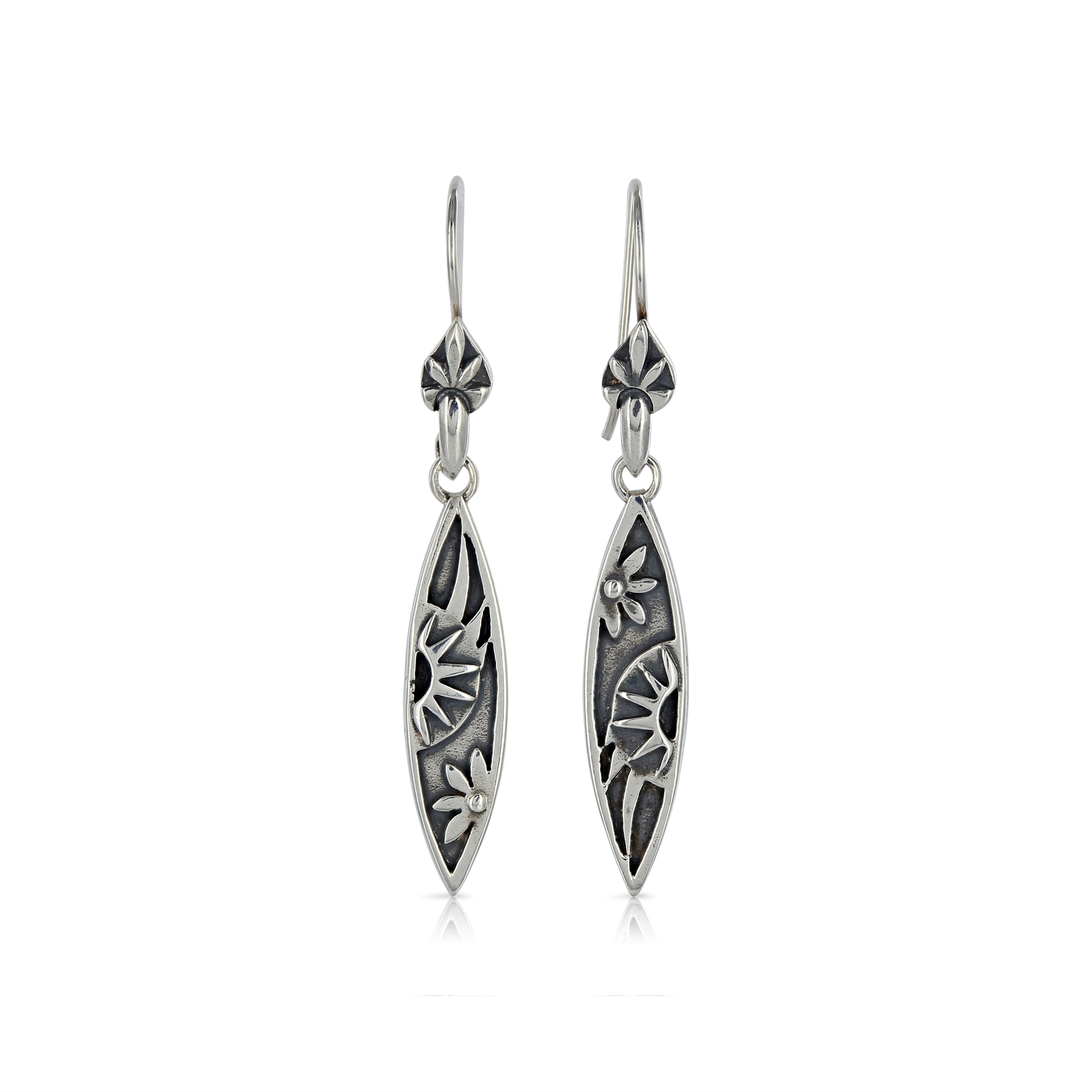 Silver Marquise Earrings by Prey Jewellery
