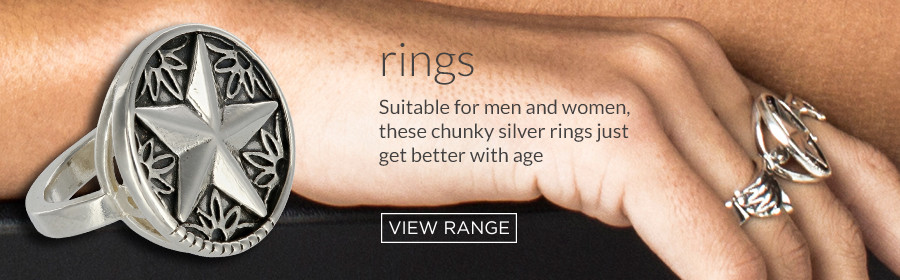 Solid sterling silver finger rings in unique contemporary designs